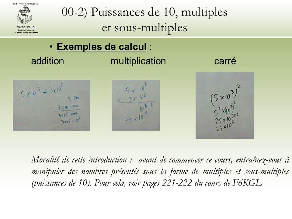 00-2) Puissances de 10, multiples et sous-multiples Exemples de calcul : addition multiplication carré Moralité de cette introduction : avant de comme
