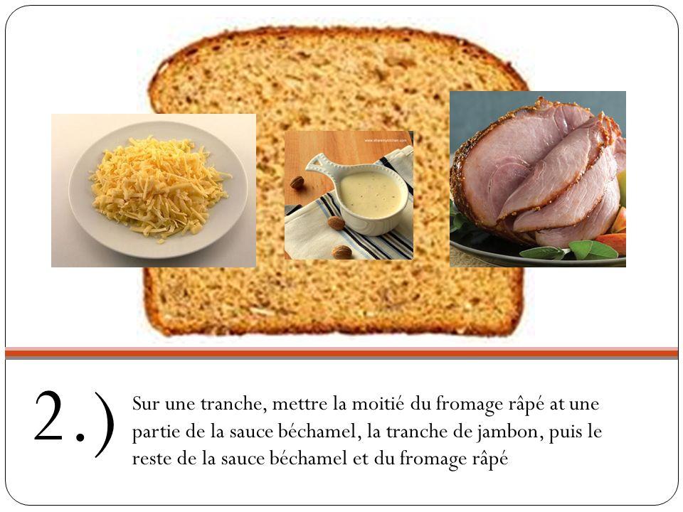 1.) Beurre les deux tranches de pain de mie de chaque côté