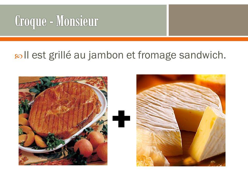 Il est grillé au jambon et fromage sandwich.