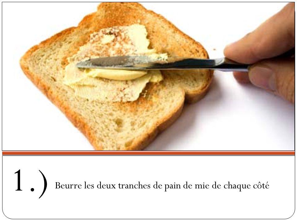 Ingrédients: 2 tranches de pain de mie 1/4 tasse de fromage râpé 1tranche de jambon Beurre Sauce béchamel (facultatif)