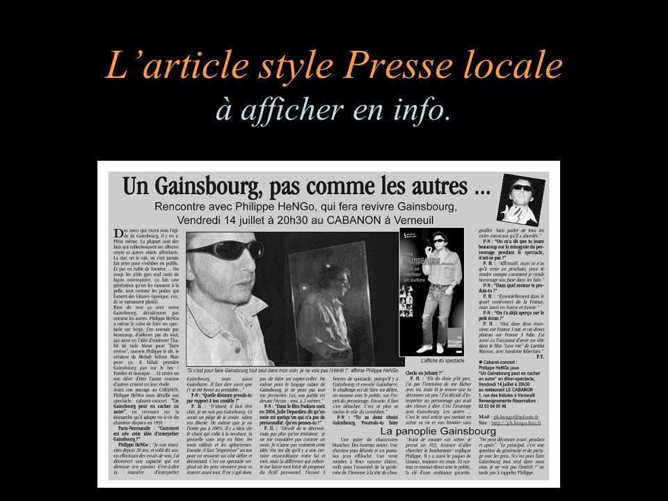 Larticle style Presse locale à afficher en info.