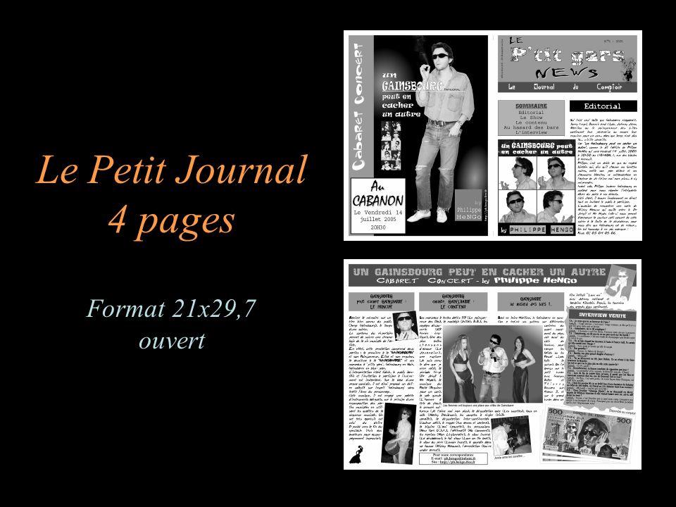 Le Petit Journal 4 pages Format 21x29,7 ouvert