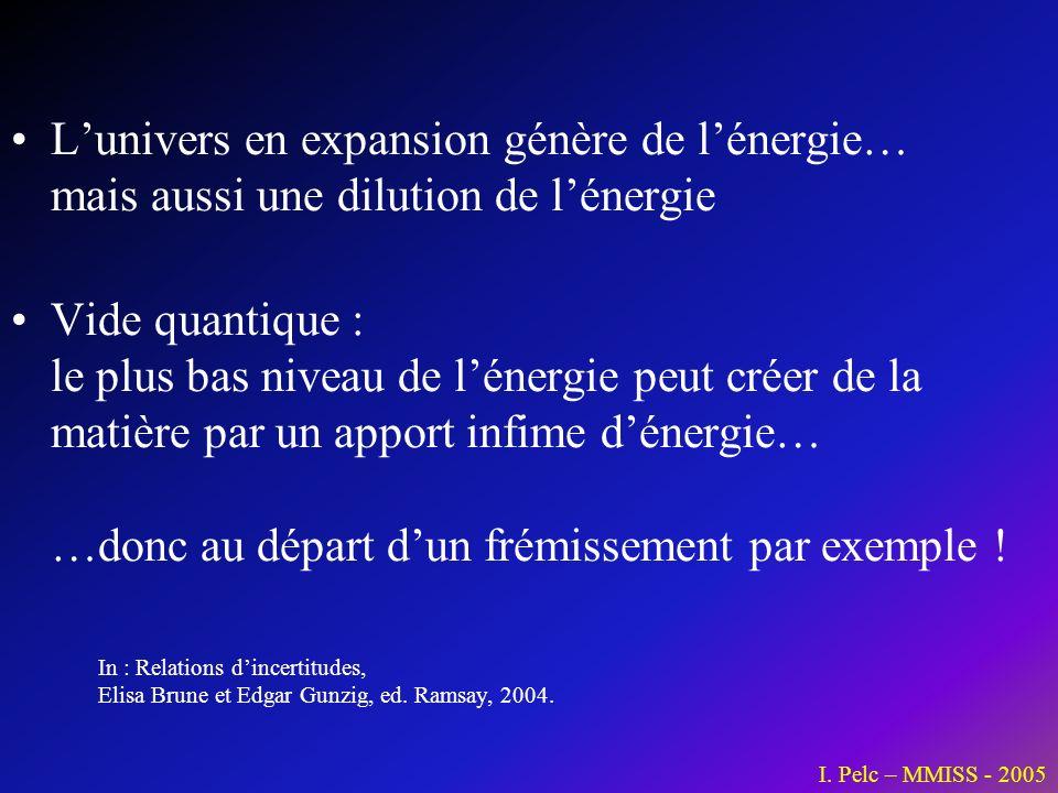 Lunivers en expansion génère de lénergie… mais aussi une dilution de lénergie Vide quantique : le plus bas niveau de lénergie peut créer de la matière