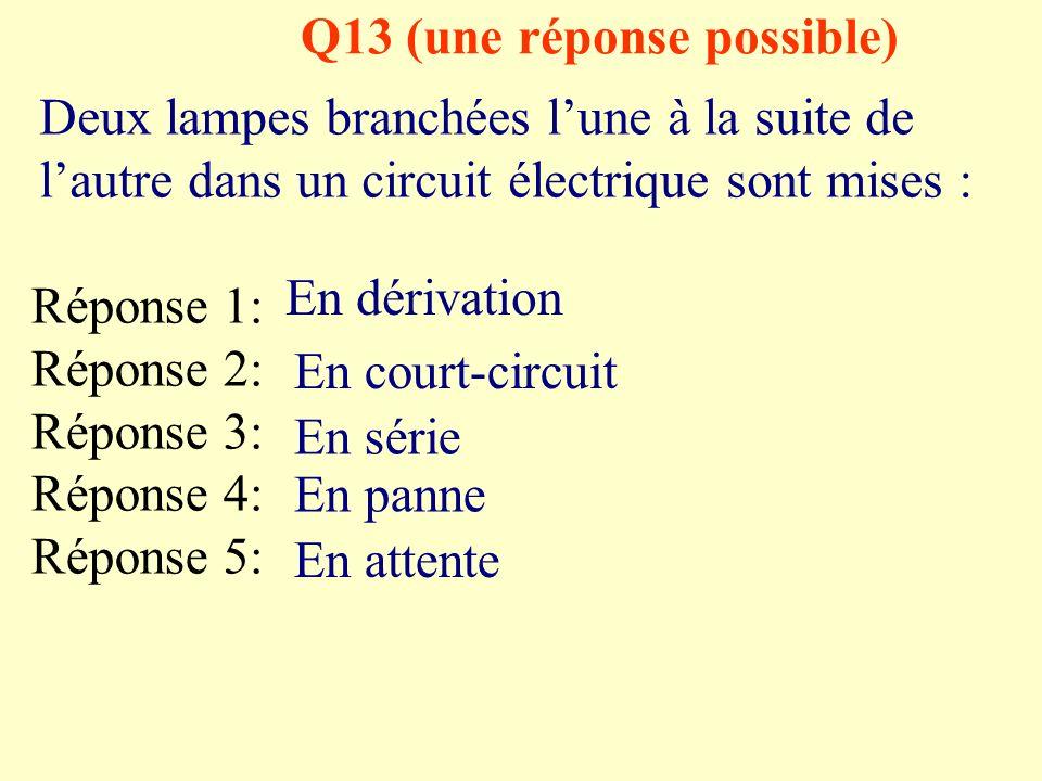 Q12 une bonne réponse Dans un circuit série comprenant une lampe un générateur et un moteur, si le moteur est court circuité Réponse 1: Réponse 2: Réponse 3: Réponse 4: Réponse 5: Il tourne à lenvers Il continue de tourner Il cesse de tourner Tous les dipôles cessent de fonctionner La lampe séteint