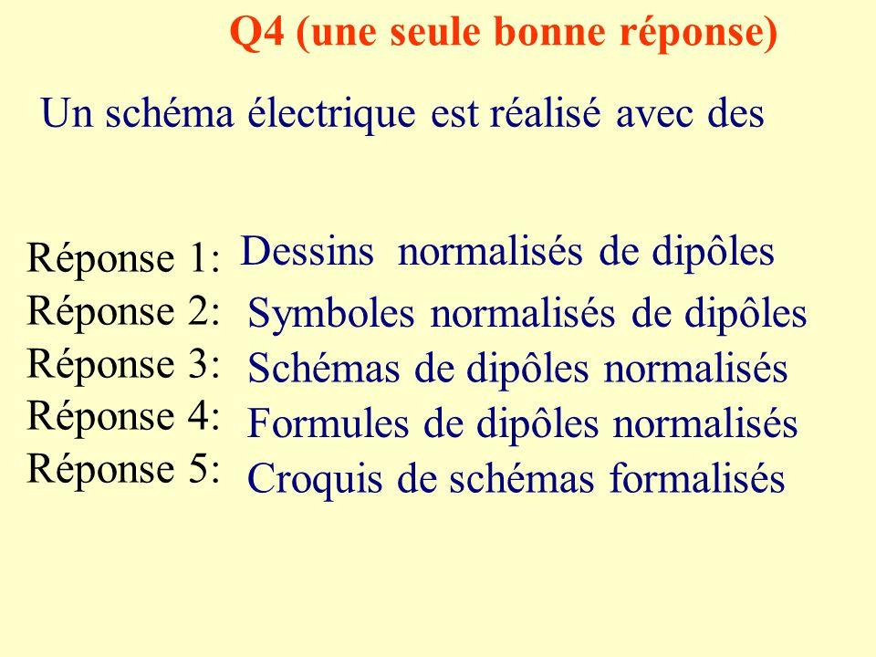 Q3 (une seule bonne réponse) Quel est le symbole du générateur ? Réponse 1: Réponse 2: Réponse 3: Réponse 4: Réponse 5: M