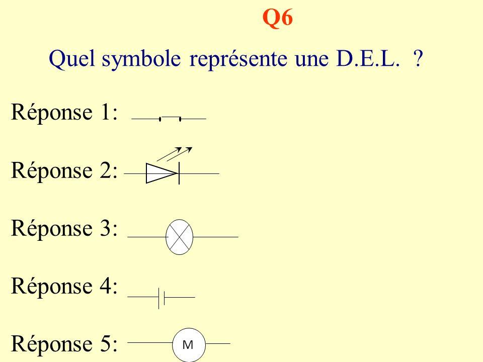 Q5 (une seule bonne réponse) Pour réaliser le schéma de ce circuit quel symbole nest pas nécessaire ? Réponse 1: Réponse 2: Réponse 3: Réponse 4: Répo