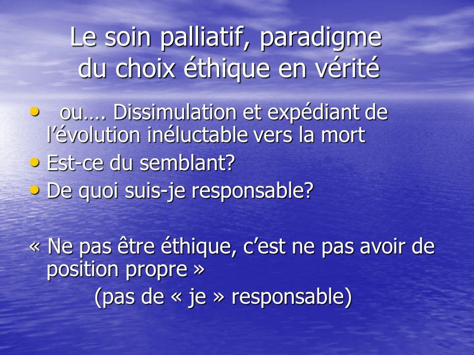 Le soin palliatif, paradigme du choix éthique en vérité Le soin palliatif, paradigme du choix éthique en vérité ou…. Dissimulation et expédiant de lév