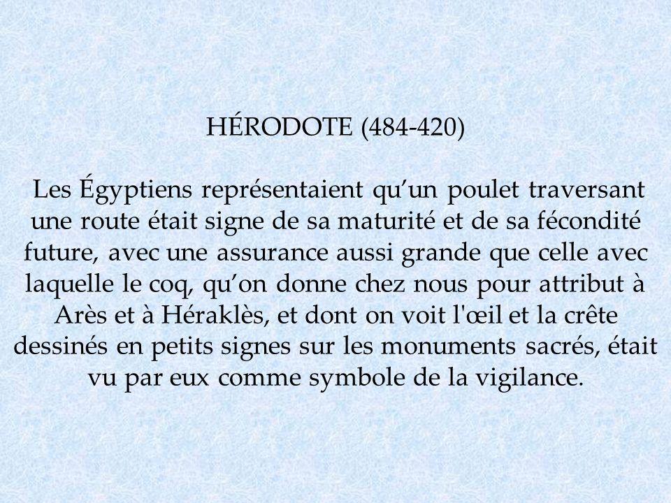 HÉRODOTE (484-420) Les Égyptiens représentaient quun poulet traversant une route était signe de sa maturité et de sa fécondité future, avec une assura