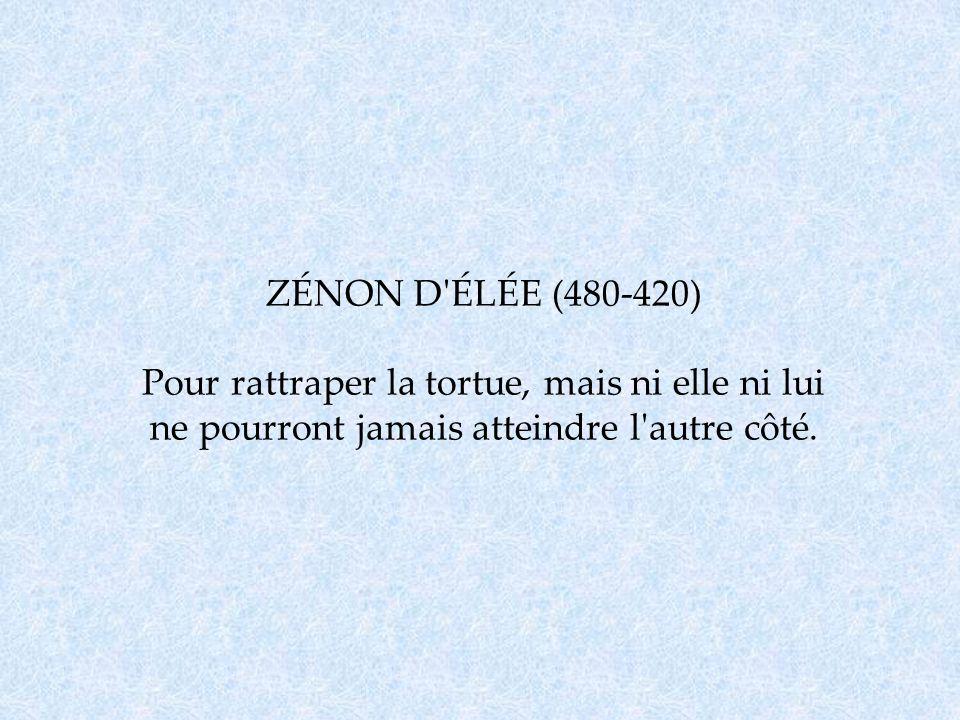 ZÉNON D'ÉLÉE (480-420) Pour rattraper la tortue, mais ni elle ni lui ne pourront jamais atteindre l'autre côté.
