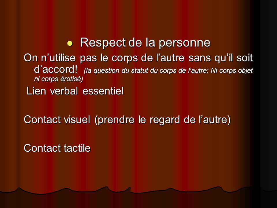 Respect de la personne Respect de la personne On nutilise pas le corps de lautre sans quil soit daccord! (la question du statut du corps de lautre: Ni