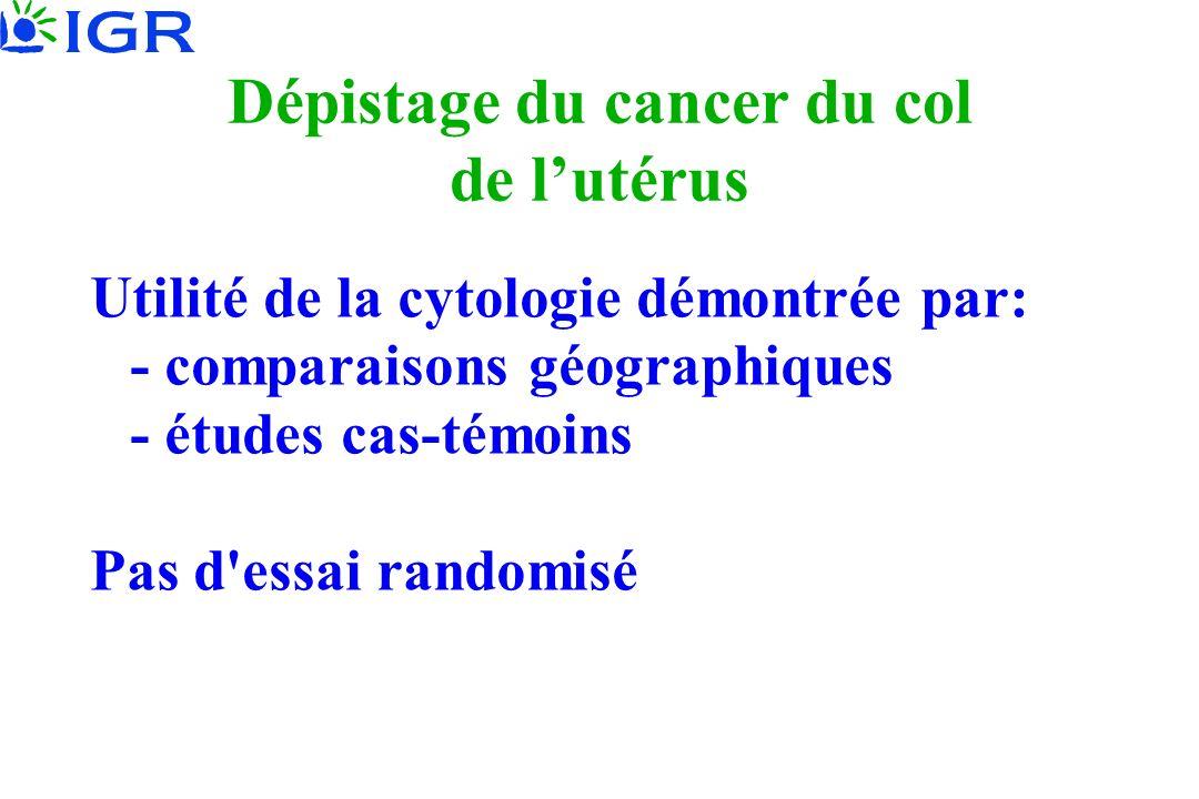 Dépistage du cancer du col de lutérus Utilité de la cytologie démontrée par: - comparaisons géographiques - études cas-témoins Pas d essai randomisé
