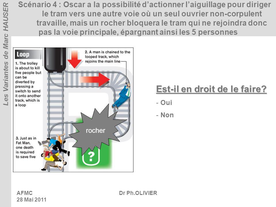 AFMC 28 Mai 2011 Dr Ph.OLIVIER Scénario 4 : Oscar a la possibilité dactionner laiguillage pour diriger le tram vers une autre voie où un seul ouvrier