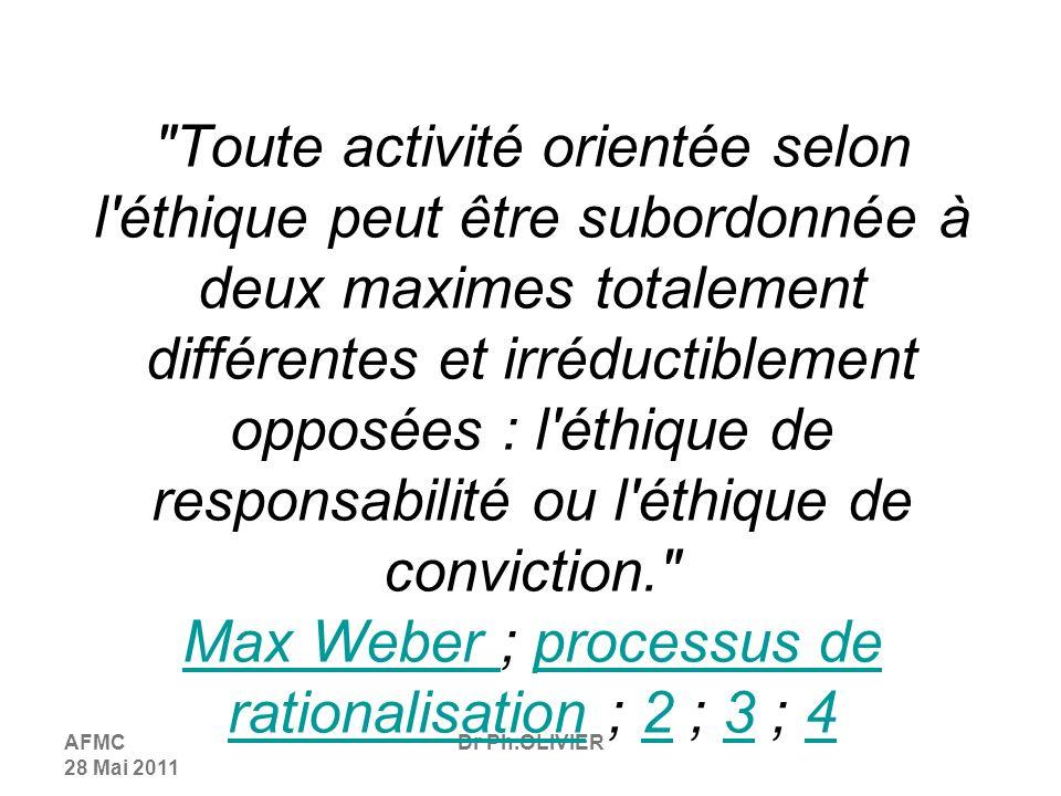 AFMC 28 Mai 2011 Dr Ph.OLIVIER Toute activité orientée selon l éthique peut être subordonnée à deux maximes totalement différentes et irréductiblement opposées : l éthique de responsabilité ou l éthique de conviction. Max Weber ; processus de rationalisation ; 2 ; 3 ; 4 Max Weber processus de rationalisation234