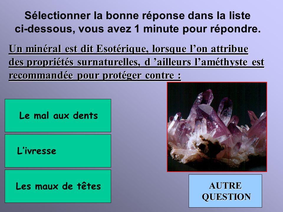 Sélectionner la bonne réponse dans la liste ci-dessous, vous avez 1 minute pour répondre. La photo ci-dessous représente un minerai d uranolite, quel