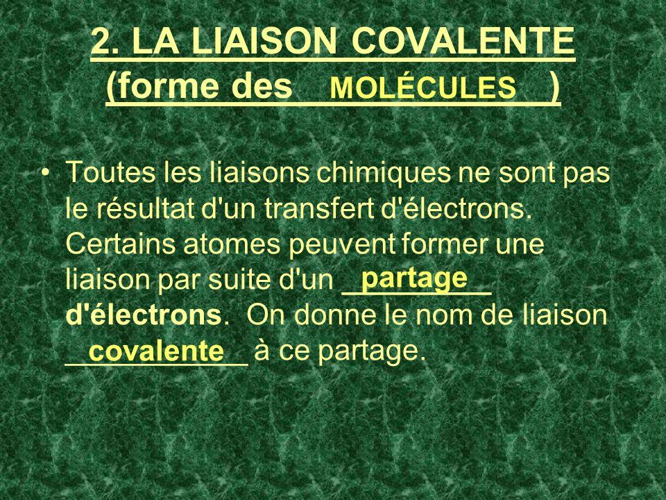 2. LA LIAISON COVALENTE (forme des ____________) Toutes les liaisons chimiques ne sont pas le résultat d'un transfert d'électrons. Certains atomes peu