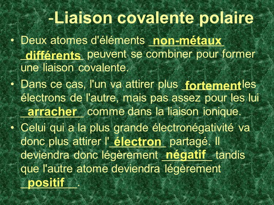 -Liaison covalente polaire Deux atomes d éléments ____________ __________ peuvent se combiner pour former une liaison covalente.