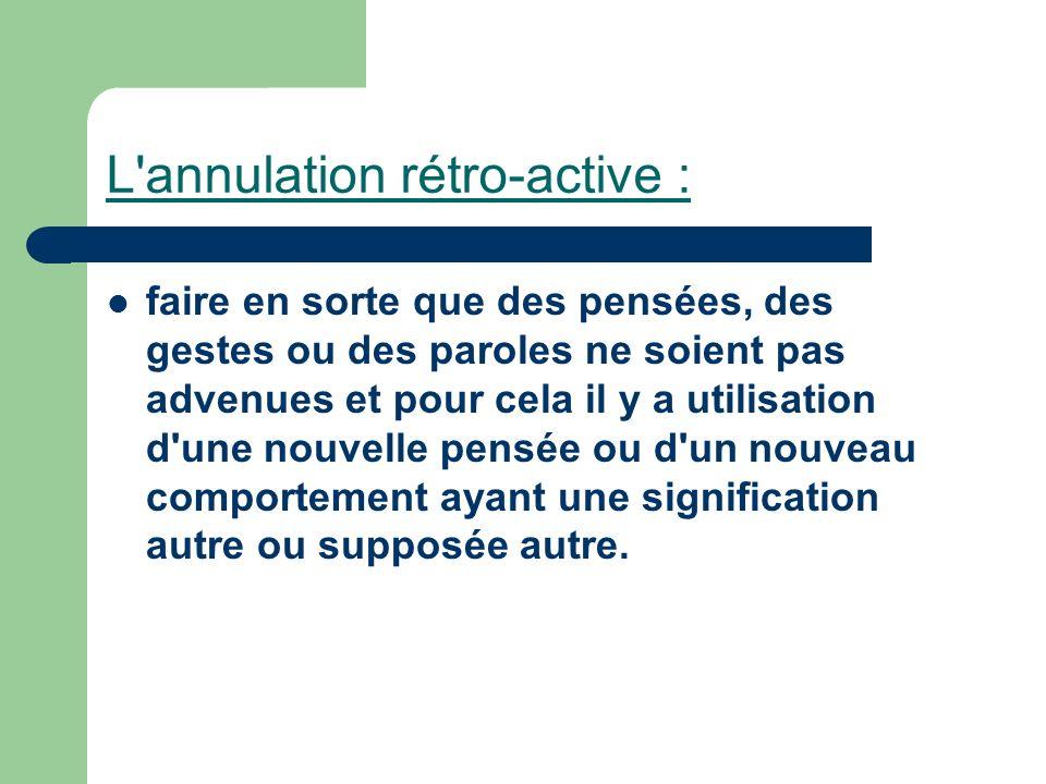 L'annulation rétro-active : faire en sorte que des pensées, des gestes ou des paroles ne soient pas advenues et pour cela il y a utilisation d'une nou