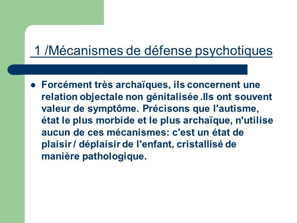 1 /Mécanismes de défense psychotiques Forcément très archaïques, ils concernent une relation objectale non génitalisée.Ils ont souvent valeur de sympt