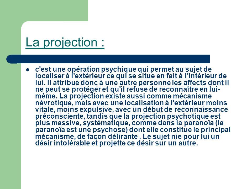 La projection : c'est une opération psychique qui permet au sujet de localiser à l'extérieur ce qui se situe en fait à l'intérieur de lui. Il attribue