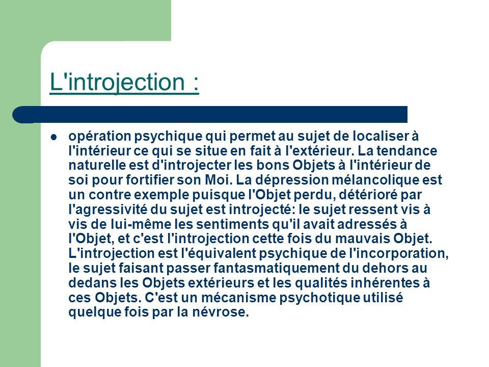 L'introjection : opération psychique qui permet au sujet de localiser à l'intérieur ce qui se situe en fait à l'extérieur. La tendance naturelle est d