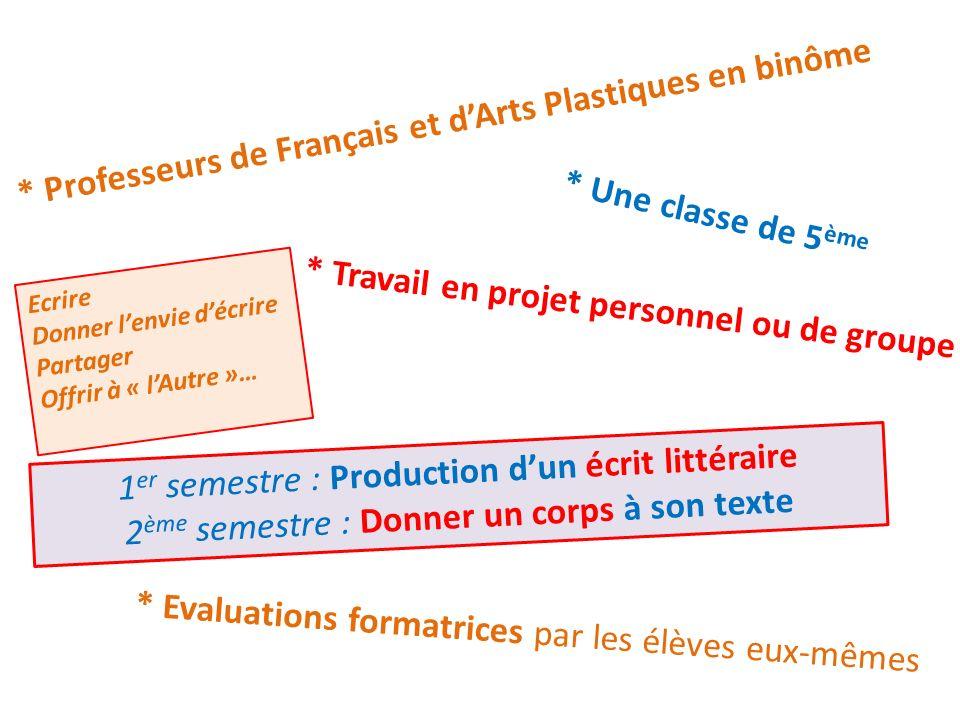 * Evaluations formatrices par les élèves eux-mêmes * Professeurs de Français et dArts Plastiques en binôme * Travail en projet personnel ou de groupe