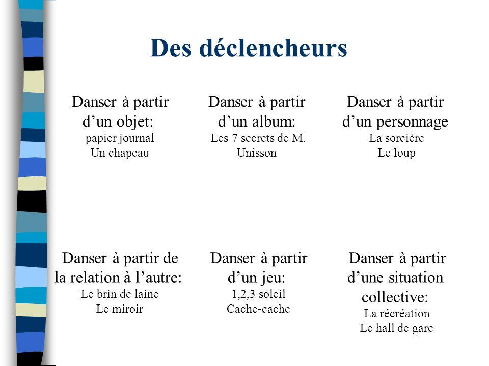 Des déclencheurs Danser à partir dun objet: papier journal Un chapeau Danser à partir dun album: Les 7 secrets de M. Unisson Danser à partir dun perso