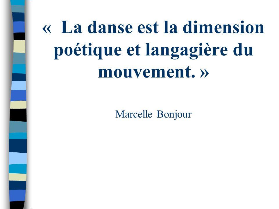 « La danse est la dimension poétique et langagière du mouvement. » Marcelle Bonjour