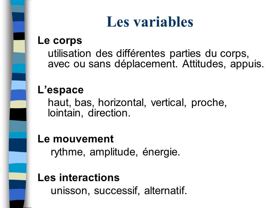 Les variables Le corps utilisation des différentes parties du corps, avec ou sans déplacement. Attitudes, appuis. Lespace haut, bas, horizontal, verti
