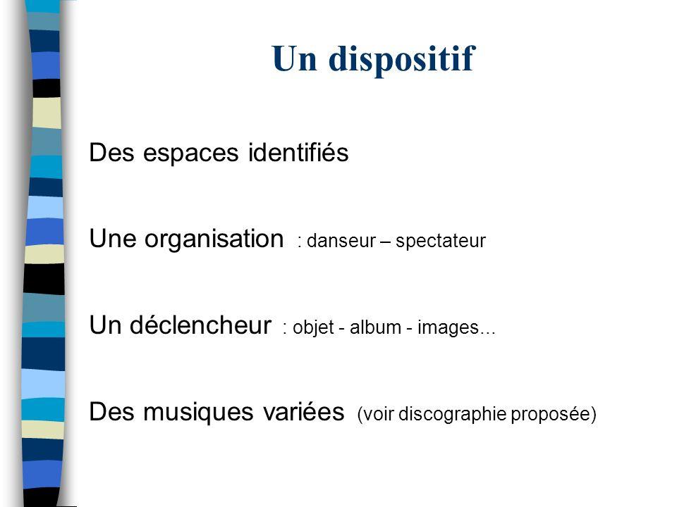 Un dispositif Des espaces identifiés Une organisation : danseur – spectateur Un déclencheur : objet - album - images... Des musiques variées (voir dis