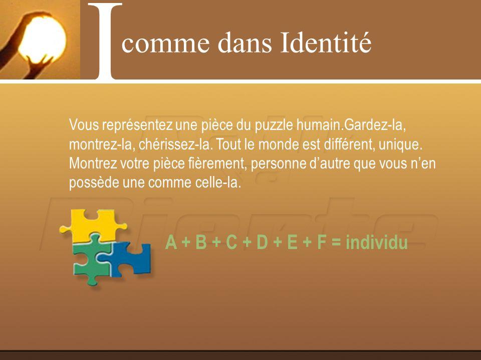 A + B = individu - C - D - E - F comme dans Identité I