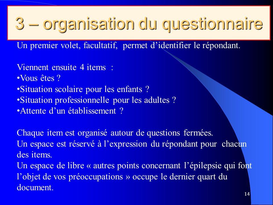 3 – organisation du questionnaire 14 Un premier volet, facultatif, permet didentifier le répondant.