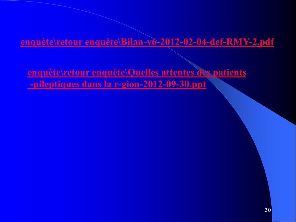 30 enquète\retour enquète\Bilan-v6-2012-02-04-def-RMY-2.pdf enquète\retour enquète\Quelles attentes des patients -pileptiques dans la r-gion-2012-09-30.ppt