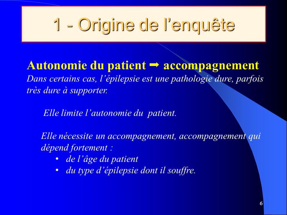 1 - Origine de lenquête 6 Autonomie du patient accompagnement Dans certains cas, lépilepsie est une pathologie dure, parfois très dure à supporter.