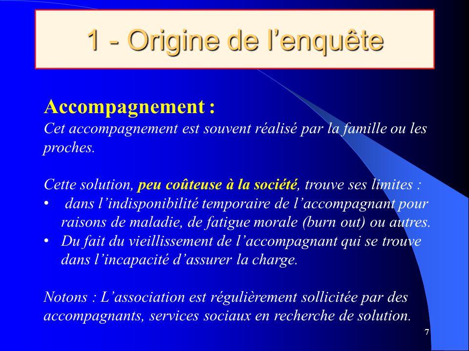 1 - Origine de lenquête 7 Accompagnement : Cet accompagnement est souvent réalisé par la famille ou les proches.