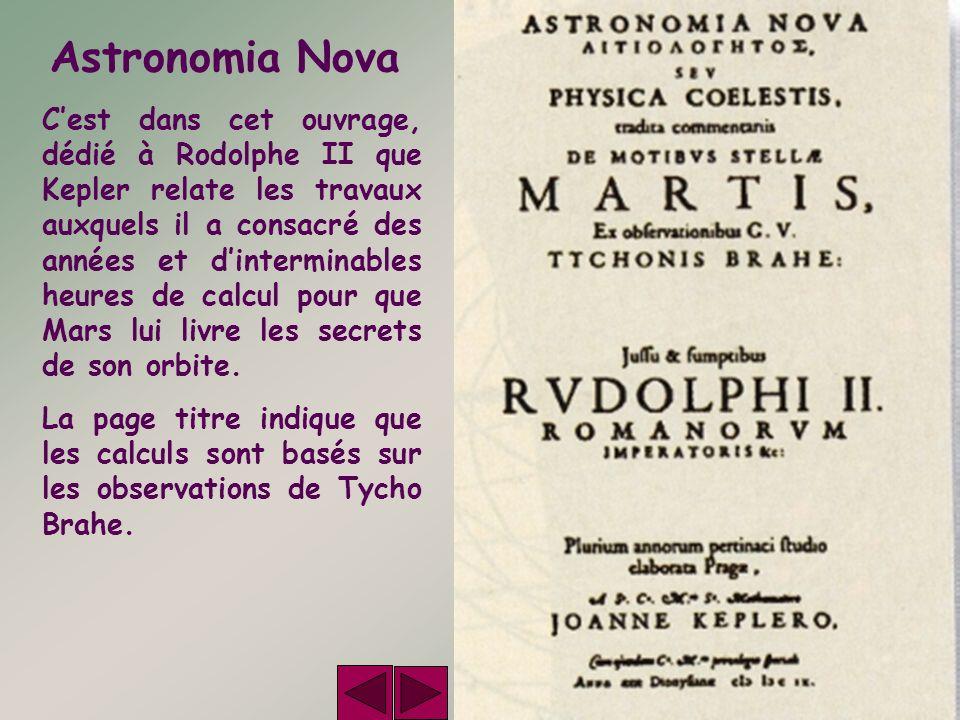 Astronomia Nova Cest dans cet ouvrage, dédié à Rodolphe II que Kepler relate les travaux auxquels il a consacré des années et dinterminables heures de