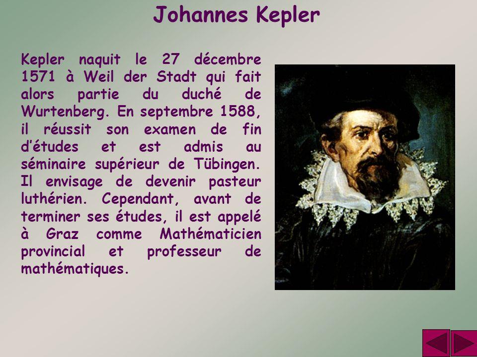Johannes Kepler Kepler naquit le 27 décembre 1571 à Weil der Stadt qui fait alors partie du duché de Wurtenberg. En septembre 1588, il réussit son exa