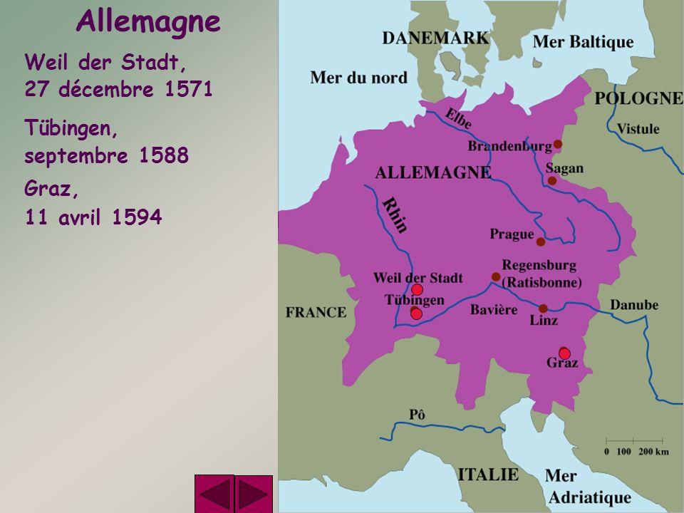 Allemagne Weil der Stadt, 27 décembre 1571 Tübingen, septembre 1588 Graz, 11 avril 1594