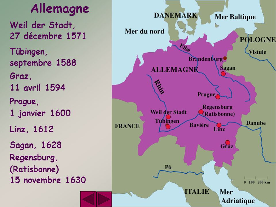Allemagne Weil der Stadt, 27 décembre 1571 Tübingen, septembre 1588 Graz, 11 avril 1594 Prague, 1 janvier 1600 Linz, 1612 Sagan, 1628 Regensburg, (Rat