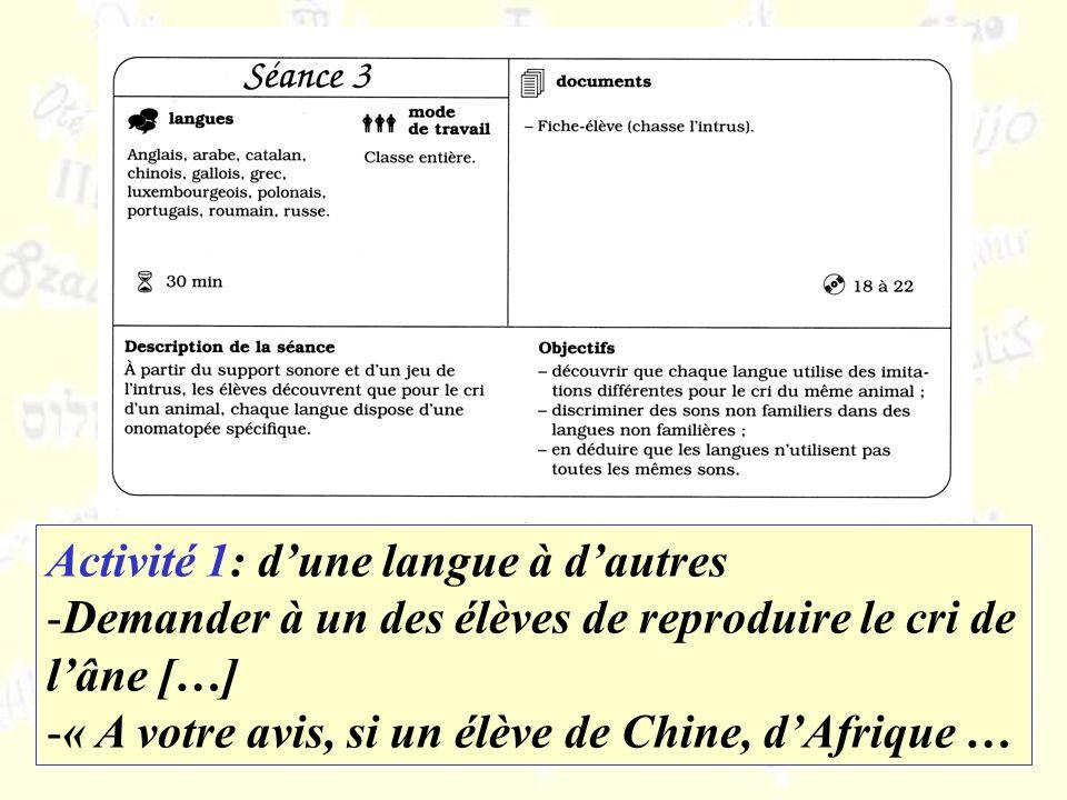 Activité 1: dune langue à dautres -Demander à un des élèves de reproduire le cri de lâne […] -« A votre avis, si un élève de Chine, dAfrique …