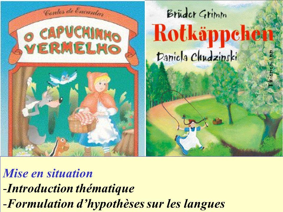 Mise en situation -Introduction thématique -Formulation dhypothèses sur les langues
