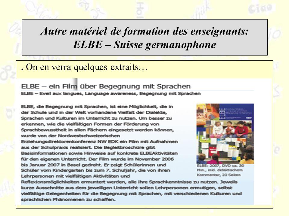 Autre matériel de formation des enseignants: ELBE – Suisse germanophone.