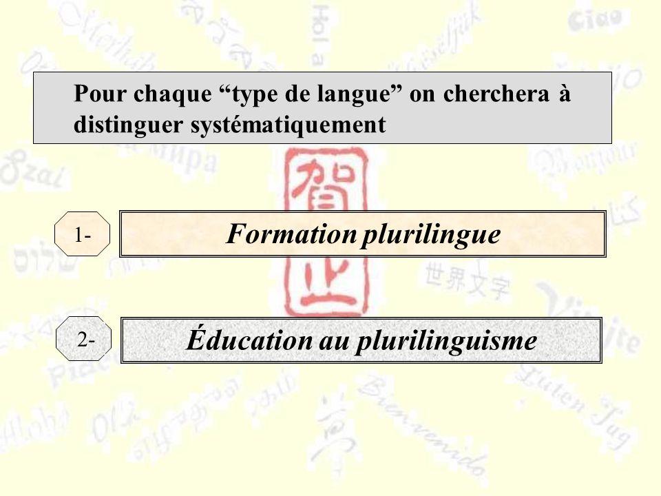 Pour chaque type de langue on cherchera à distinguer systématiquement Formation plurilingue 1- Éducation au plurilinguisme 2-