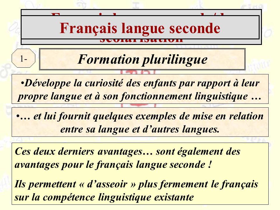 Français langue seconde/de scolarisation Formation plurilingue 1- Développe la curiosité des enfants par rapport à leur propre langue et à son fonctionnement linguistique … … et lui fournit quelques exemples de mise en relation entre sa langue et dautres langues.