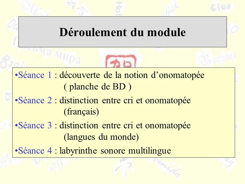 Déroulement du module Séance 1 : découverte de la notion donomatopée ( planche de BD ) Séance 2 : distinction entre cri et onomatopée (français) Séance 3 : distinction entre cri et onomatopée (langues du monde) Séance 4 : labyrinthe sonore multilingue