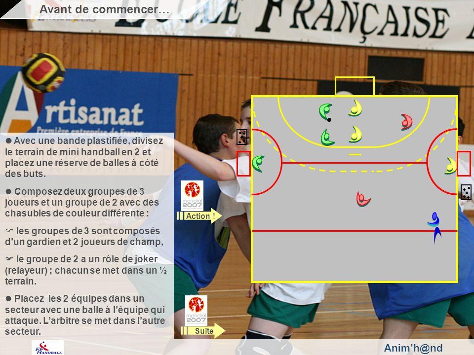 Animh@nd Avec une bande plastifiée, divisez le terrain de mini handball en 2 et placez une réserve de balles à côté des buts.