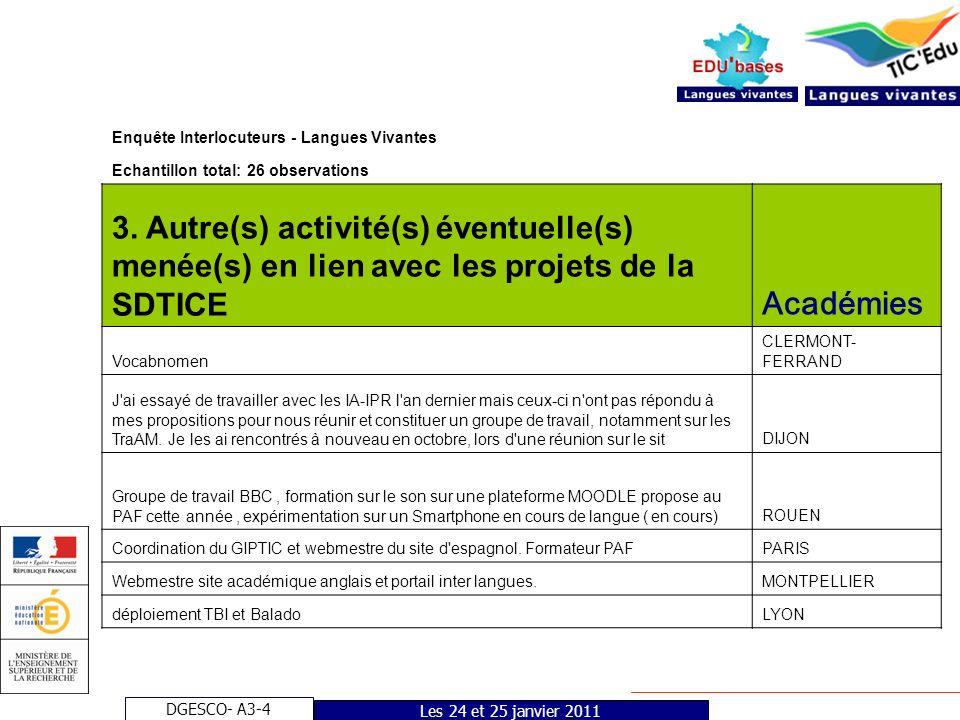 DGESCO- A3-4 Les 24 et 25 janvier 2011 Enquête Interlocuteurs - Langues vivantes Echantillon total: 26 observations 14.