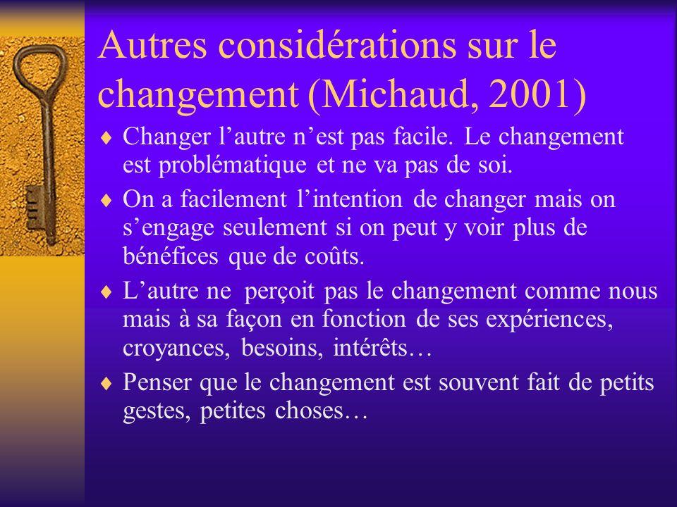 Autres considérations sur le changement (Michaud, 2001) Changer lautre nest pas facile. Le changement est problématique et ne va pas de soi. On a faci