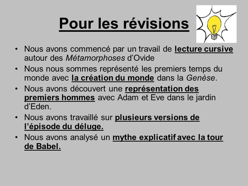 Pour les révisions Nous avons commencé par un travail de lecture cursive autour des Métamorphoses dOvide Nous nous sommes représenté les premiers temp