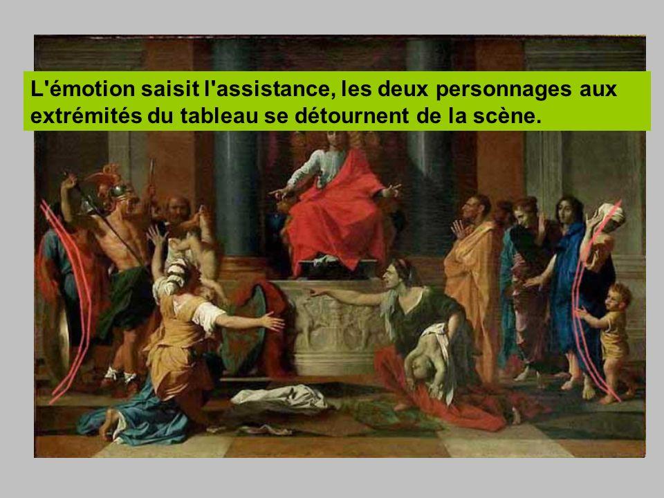 L'émotion saisit l'assistance, les deux personnages aux extrémités du tableau se détournent de la scène.
