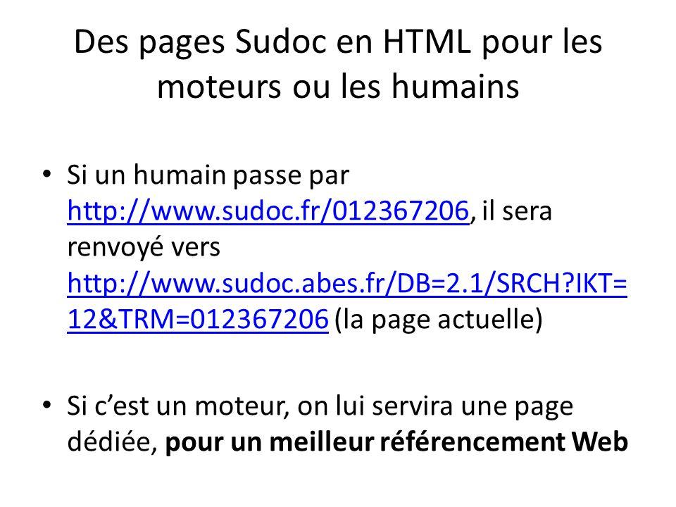 Des pages Sudoc en HTML pour les moteurs ou les humains Si un humain passe par http://www.sudoc.fr/012367206, il sera renvoyé vers http://www.sudoc.abes.fr/DB=2.1/SRCH?IKT= 12&TRM=012367206 (la page actuelle) http://www.sudoc.fr/012367206 http://www.sudoc.abes.fr/DB=2.1/SRCH?IKT= 12&TRM=012367206 Si cest un moteur, on lui servira une page dédiée, pour un meilleur référencement Web